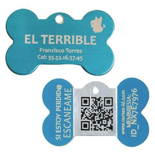 Placa ID QR Metal Azul