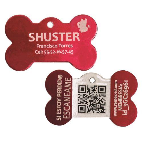 Placa ID QR Metal Roja