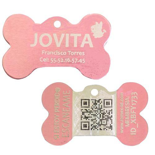 Placa ID QR Metal Rosa
