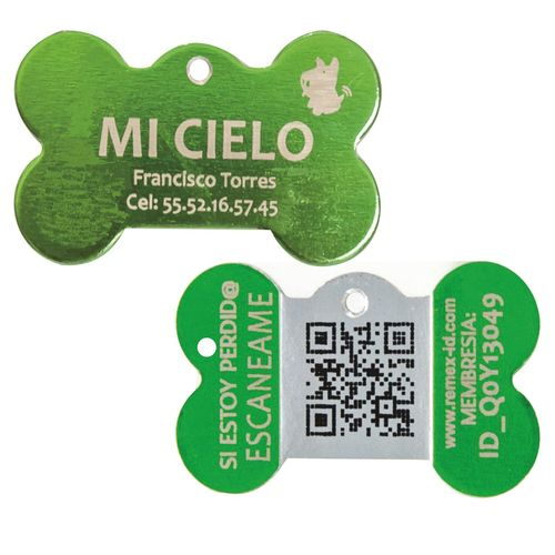 Placa ID QR Metal Verde Limon